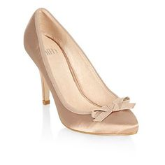 Taupe bow pointed court shoes