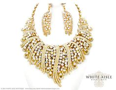 Gold Bridal Statement Necklace Earring Set by WhiteAisleBoutique