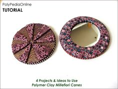 Pocket mirror covered with polymer clay millefiori technique.