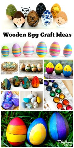These wooden egg craft ideas are perfect for spring home decor, spring nature tables, Easter egg hunts, and Easter baskets! Kids love to hunt them down as much as they like to find them in their Easter Baskets.Decorating them is a fun way to decorate eggs that last for years! DIY Easter | Easter Ideas | Wooden Easter Eggs | Spring Equinox