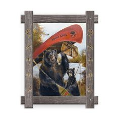 Framed in a rustic-style design, these distressed frames, are the perfect complement to the art they enhance two black bears carrying a canoe and fly fishing basket to the lake. Art by Mason Maloof Designs.