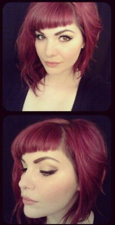 asymetrical hair cut and color Goldwell reds
