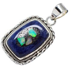 """Rough Mexican Fire Opal Sodalite Composite 925 Sterling Silver Pendant 1 1/2"""" PD555058"""
