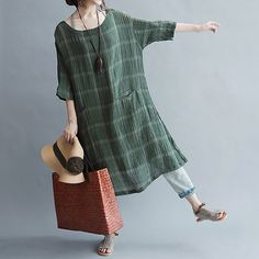Linen collar six points dress sleeve literary loose by babyangella