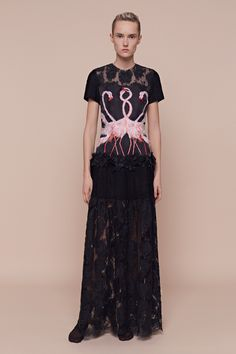 Aouadi | Spring 2016 Couture | 26 Black lace short sleeve maxi dress (front)