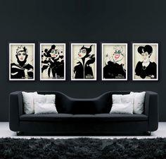 "Disney Villains Set (The Evil Queen, Maleficent, Ursula, Cruella de Vil, Lady Tremaine) -DISNEY COLLECTION- Minimalist Retro Poster 11""x17"""