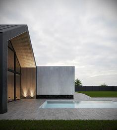 Private house on behance home แ บ บ โ ด น ใ จ 1 in 2019 дом-сарай, архитект House Cladding, Facade House, Modern Barn House, Modern House Design, Interior Exterior, Exterior Design, Light Architecture, Architecture Design, Piscina Interior