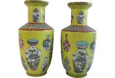 Chinese Rouleau Vases, Pair on OneKingsLane.com