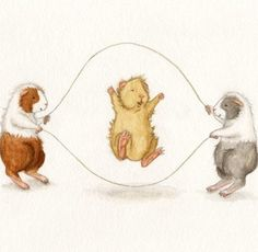 Guinea pigs jump rope