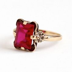 Sale - Vintage 10k Rosy Yellow Gold Created Ruby Flower Ring - Retro 1940s Size 7 Red Pink 3 + Carats July Birthstone Fine Floral Jewelry by Maejean Vintage on Etsy