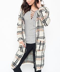 Loving this Caralase Cream Plaid Open Cardigan on #zulily! #zulilyfinds