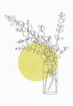 Modern minimalist line drawing eucalyptus print, botanical print, plant poster, one line, Art Abstrait Ligne, Tableau Pop Art, Impressions Botaniques, Abstract Line Art, Plant Drawing, Plant Art, Inspiration Art, Minimalist Art, Minimalist Kitchen