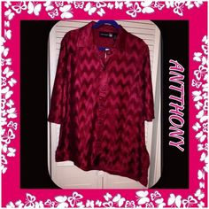 """NEW Antthony Designs BLOUSE CRANBERRY RED ~ LARGE NEW W/Chain Belt. Button Down Front and Elbow Length Sleeves. Wear the Chain as a Belt or wrap around neck several times for Necklace. A Clasp Closure.  The polyester crinkled fabric has a shadow effect of dark and light color. Side Slits.        Bust: 45""""  Hips: 47""""  Length on Right side: 29"""" Length on Left side: 35""""  Sleeve Length: 15"""" Belt Length: 44"""" Total 100% Polyester - the Crinkled Fabric has a little stretch to it.  Machine Wash…"""