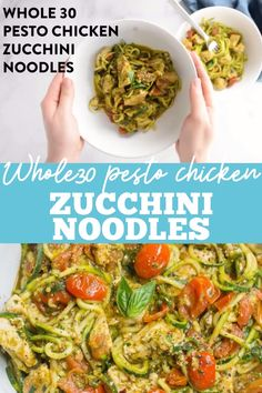 Pesto Chicken Zucchini Noodles - Pesto Chicken Zucchini Noodles are a delicious, simple dinner. Paleo and gluten free, this easy dinner comes together in under 30 minutes! You'd never know this was clean eating and veggie loaded! Paleo Recipes, Healthy Dinner Recipes, Whole Food Recipes, Heart Healthy Recipes, Cooking Recipes, Whole 30 Crockpot Recipes, Skinny Recipes, Whole 30 Easy Recipes, Clean Eating Dinner Recipes