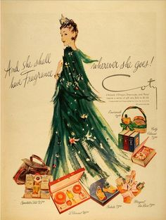 """Coty, Christmas 1945...""""And she shall have fragrance wherever she goes!"""""""