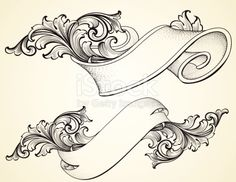 Scroll Banner And Curled Scroll Banners Royalty Free Stock Vector Art Illustration Tattoo Drawings, Art Drawings, Drawing Sketches, Molduras Vintage, Tattoo Painting, Schrift Tattoos, Free Vector Art, Banners, Zentangle