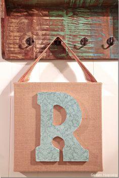Monogram art on burlap. Easy DIY Project! #mpinterestparty