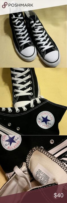 Converse All Star Hi-Tops (Black/White) Unisex Chuck Taylor All Star sneakers were created originally as basketball shoes.  Still to this day these Hi-tops features a timeless silhouette, vulcanized rubber sole and the unmistakably ankle patch.  Pre-owned (good condition)  Shoe Size:    9 Men                     11 Women Converse Shoes Sneakers