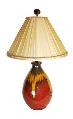 Vintage Burnt Orange Drip Glaze Lamp and Shade on Chairish.com
