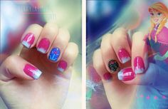 I am unfolding Disney Frozen inspired Anna nail art designs, ideas & stickers of Anna nails are vibrant and classy, use yellow and blue nail colors to draw the design. Disney Nail Designs, Cute Nail Designs, Disney Stars, Elsa, Blue Nails, White Nails, Disney Frozen, Frozen Nails, Disney Nails
