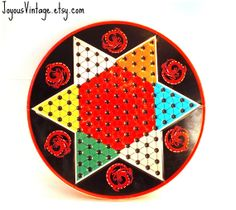 Vintage Chinese Checkers Metal Tin Board Game by JoyousVintage, $10.00