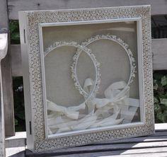 Wedding Crown display box-stefanothiki. Hangs on the wall.