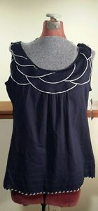Classic colors, fun style! Women's Tommy Hilfiger Navy Blue & White 100% Cotton Tank Top Ruffle Neck Size Large New with Tags