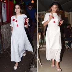 Actress Sara Ali Khan looking as beautiful as ever, spotted in a white dress by and looking as beautiful as ever in a multi coloured smocked bodice dress by for a casual outing! Simple Kurta Designs, Stylish Dress Designs, Designs For Dresses, Stylish Dresses, White Dress Outfit, Casual Dress Outfits, Fashion Outfits, Fashion Hacks, Casual Wear