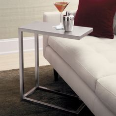Era Stainless Steel C Table | Crate and Barrel