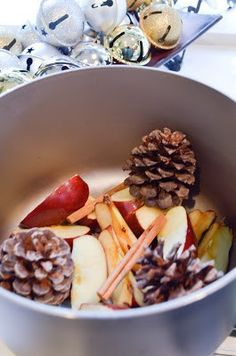 Stove Top Holiday Smell | Oh So Delicioso - 2 apples sliced, 3 pinecones, 3 cinnamon sticks, 4 cups water; simmer on low, adding more water as it cooks down.