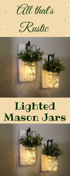 Creative Rustic Home Decor. With this awesome lighted mason jars. ❤ #ad #masonjar #rusticdecor