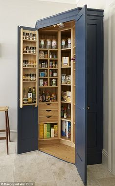 The Holkham corner pantry provides storage for all the family's dried food. - The Holkham corner pantry provides storage for all the family's dried food. A combination of draw - Corner Pantry, Kitchen Storage, Kitchen Remodel, Kitchen Decor, Sage Kitchen, House Interior, Pantry Design, New Kitchen Cabinets, Kitchen Design