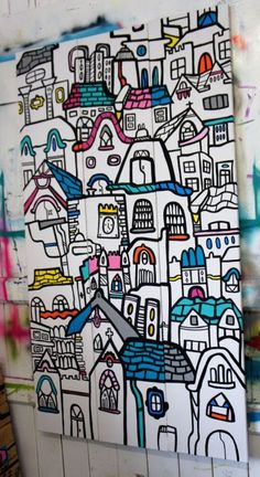 ARTFINDER: The City - Triptych by Kev Munday - Original painting on canvas by artist Kev Munday. Signed and dated 2015 on the reverse. The piece has been hand painted with acrylic paint and paint mark...