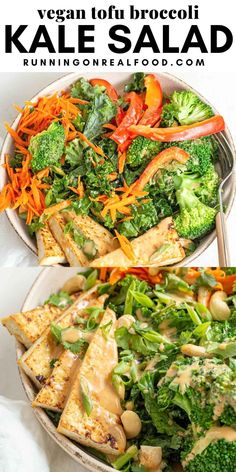 Enjoy this tofu kale salad with broccoli, carrots and coconut peanut sauce for a healthy plant-based meal that's easy to make in 30 minutes. Broccoli Tofu, Broccoli Salad, Kale Salad, Breakfast Recipes, Dinner Recipes, Crispy Tofu, Peanut Sauce, Kitchen Recipes, Plant Based