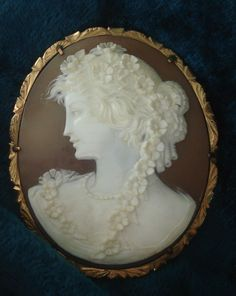 Amazing 14K Vintage Hand Carved G.NOTO Sardonyx Flora cameo Brooch Pin