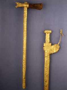 Scythian ceremonial axe and sword; gold, c. 7th century BC. Found by D.G. Schultz in 1903 in the Kelermes burial mound, Kuban region.