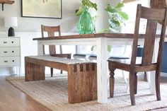 How to make this West Elm inspired 6ft diy modern farmhouse bench for under $35. Done in a day! No nails or screws required!