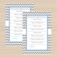 Digital Baby Wish Cards, Grey and Light Blue Chevron Modern Baby Shower