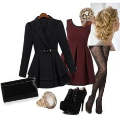 Black Lace and Maroon Outfit