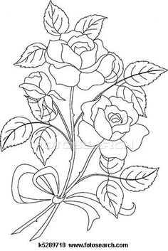 Clip Art of Flowers rose, contour - Search Clipart, Illustration Posters, Drawings, and EPS Vector Graphics Images -Rose handdrawn Stock Photos and Images. 760 Rose handdrawn pictures and royalty free photography available to search from thousands of Flower Bouquet Drawing, Flower Art, Drawing Flowers, Art Flowers, Hand Embroidery Patterns, Embroidery Designs, Coloring Books, Coloring Pages, Flower Sketches