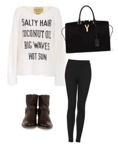 """""""Untitled #1"""" by aslimishka ❤ liked on Polyvore featuring Wildfox, Topshop, Frye and Yves Saint Laurent"""