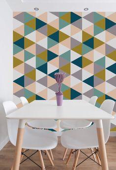 Geometric Removable Wallpaper, Self Adhesive Wallpaper, Unique Home Decor. Pink…