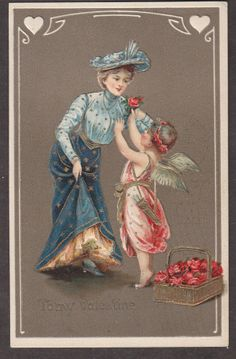 X2028 Valentines Day postcard, Cupid gives rose to lady, Illustrated Post Card