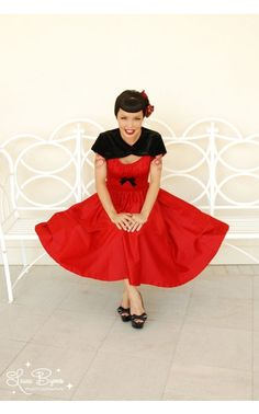 Pinup Couture - Evelyn Dress in Red Satin | Pinup Girl Clothing