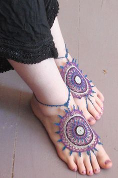 Because bare feet are just so boring :)    Ravelry: Payal: A Mehndi Inspired Barefoot Sandal pattern by Shrone Designs