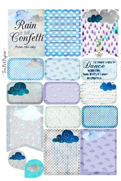 Rain Clouds rainy day theme planner stickers for ECLP IWP