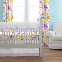 Watercolor Floral Crib Bedding by Carousel Designs. This stunning collection is like a modern work of art. The beautiful watercolor floral graphics will surely make a statement in your nursery. Paired with clean, crisp white sateen to add a touch of elegance. Your little ones room will be the talk of the town.