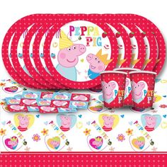 Peppa Pig Cartoon Children's Birthday Complete Party Tableware Pack For 8