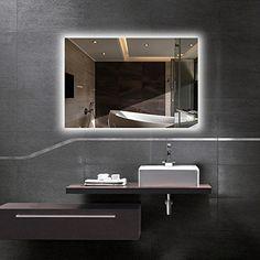 Buy Hans&Alice LED Wall Mounted Backlit Mirror, Bathroom Vanity Makeup Mirror–Dimmable, Anti Fog, Touch Screen and CRI Bathroom Sets, Bathroom Wall, Modern Bathroom, Small Bathroom, Vanity Bathroom, Master Bathrooms, Bathroom Cabinets, Farmhouse Bathrooms, Master Baths