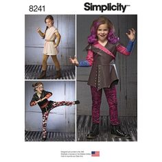 Set the child in your life off on an exciting adventure with these character costumes for children sized 3-8. Pattern features three distinct costumes each with knit leggings. View B includes belt and headband, and View C includes gauntlets. Simplicity sewing pattern.